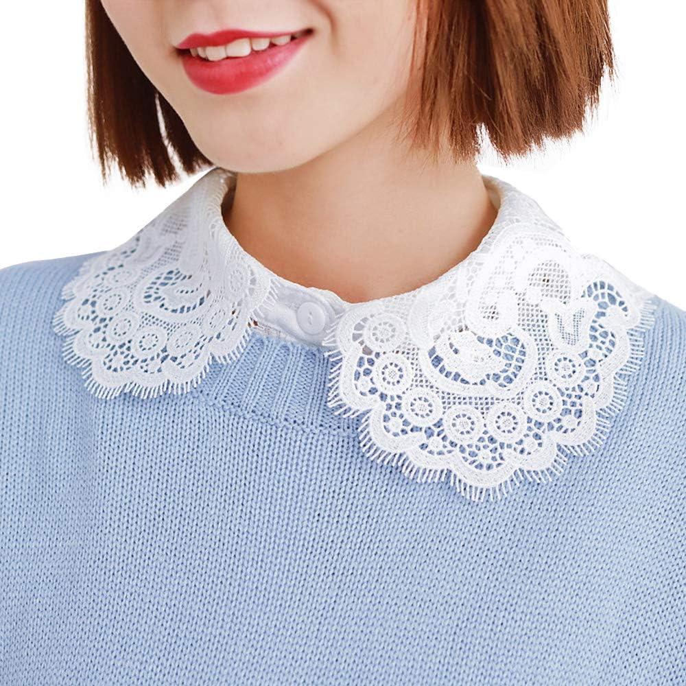 Booluee Peter Pan Fake Collar Detachable Half Shirt Dickey Lace Flower False Collar White