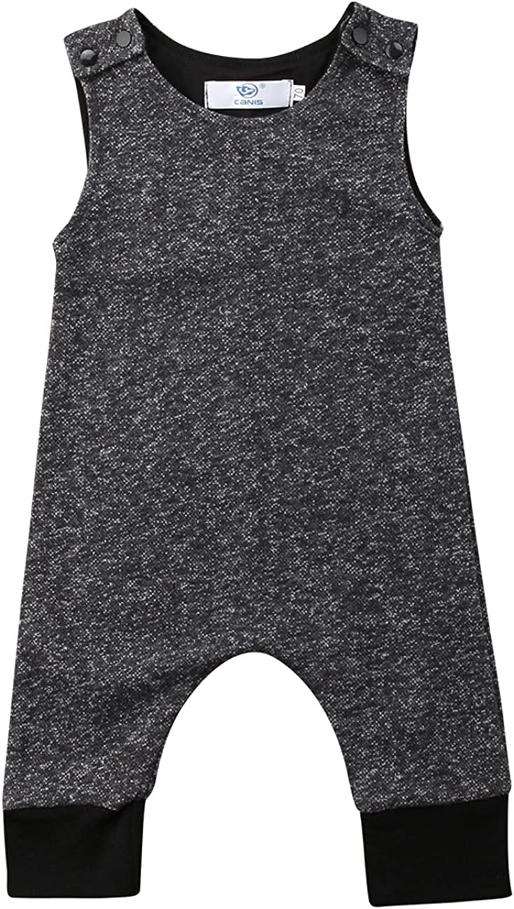 Canis Baby Boys Summer Sleeveless Ju New Shipping Free Shipping Grey Romper service Solid One-Piece