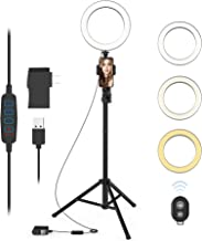 Selfie Ring Light with Tripod Stand and Phone Holder LED Circle Lights Halo Lighting for..