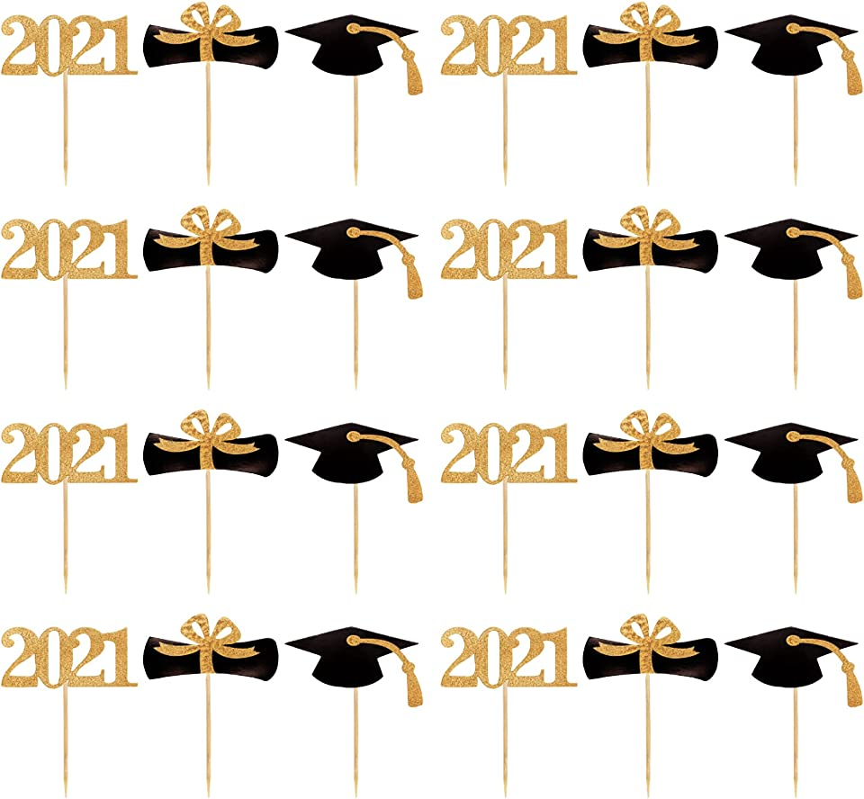2021 Graduation Cupcake Toppers, 24 Pack Gold Glitter Cupcake Topper for Class of 2021 Graduation Party, Cake Toppers Decorations for Cake, Ice Cream, Dessert, Fruit