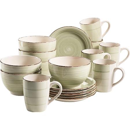 Mäser Série Bel Tempo Ensemble de vaisselle de petit-déjeuner Dans différentes couleurs Vert olive (Bel Tempo Ii).