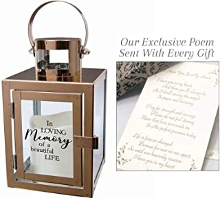 Sympathy Candle Lantern Gifts with Message and Flameless LED Candle for Funeral Or Memorial Comfort The Grieving for Loss of A Loved One