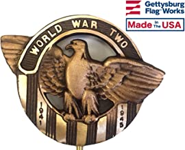 Gettysburg Flag Works WWII Grave Marker, Bronze Cemetery Plaque for an American Veteran, Memorial Flag Holder, Made in USA