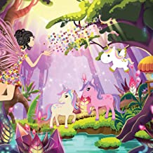 FORWALL Papel Pintado Fotográfico–Papel Pintado Hada y Unicornio Photo Wallpaper Mural amf11707_ VE Unicornio Niños Caballo Animales Arco Iris Hada Bosque, vellón, carbón, VEXXL (312cm. x 219cm.)