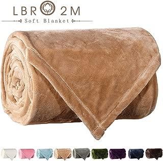 LBRO2M Fleece Bed Blanket Twin Size Super Soft Warm Fuzzy Velvet Plush Throw Lightweight Cozy Couch Blankets ((65x90 Inch) Twin, Cream)