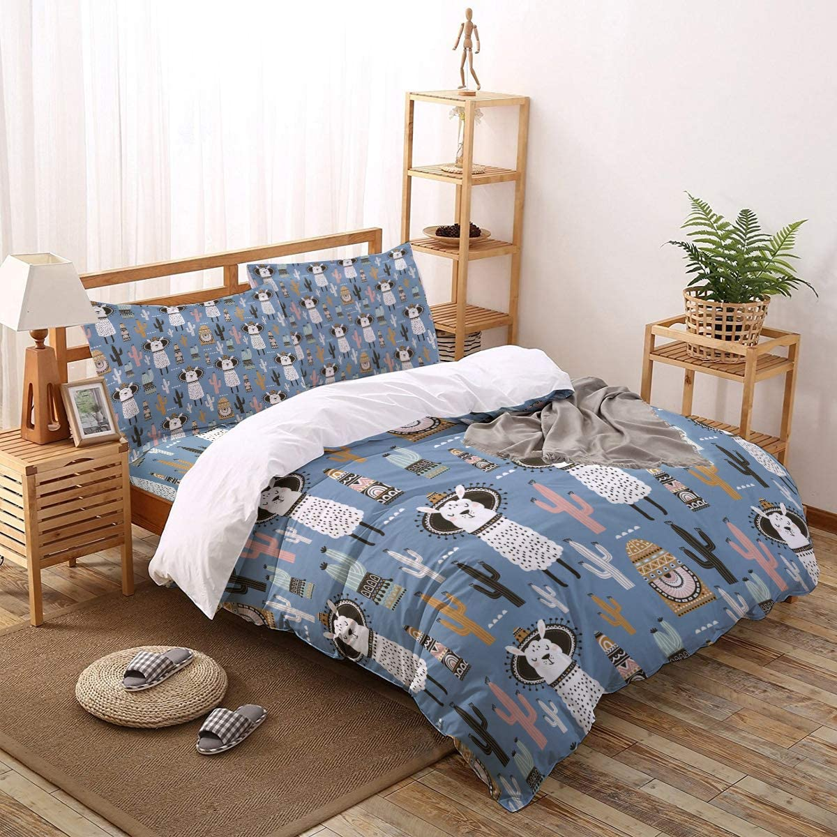 Fangship 4 Virginia Beach Mall Pieces Special price for a limited time Duvet Cover Bedding Alpaca Set Blu Cute Cactus
