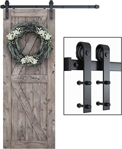 SMARTSTANDARD 5ft Heavy Duty Sturdy Sliding Barn Door Hardware Kit -Smoothly and Quietly -Easy to Install -Includes S...