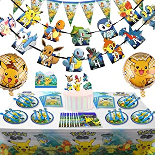 141 Pcs Pokemons Birthday Party Supplies for Kids and Boys Pikachu Birthday Decoration Includes Birthday Cake Decorations Plates Table Cloth