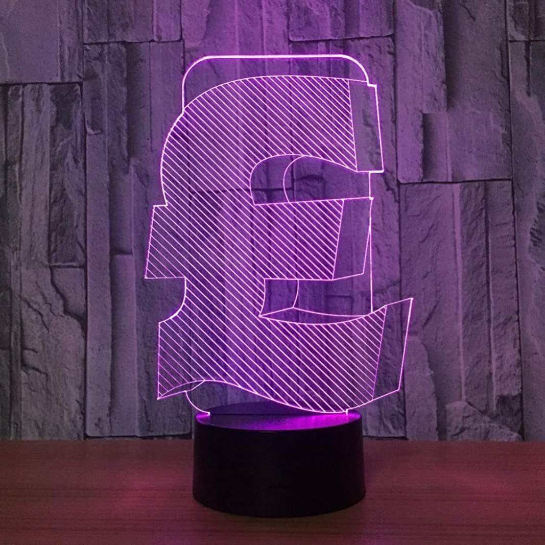 子犬ネイティブ誇大妄想3DイリュージョンGBP記号LEDランプタッチセンサーマルチカラーベッドルームベッドサイド装飾デスクランプキッズクリスマスフェスティバル誕生日プレゼントのUSB充電