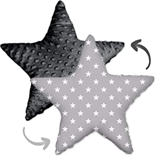 Dekorativ kudde för barnrum, stjärnkudde, plyschkudde för barn, dekorativ kudde, flickor och pojkar (grå Minky - vita stjä...