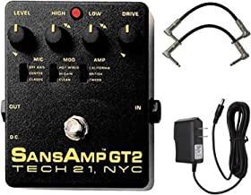 Tech 21 SansAmp GT2 Tube Amp Emulator Pedal Bundle with 2 Patch Cables and Power Supply