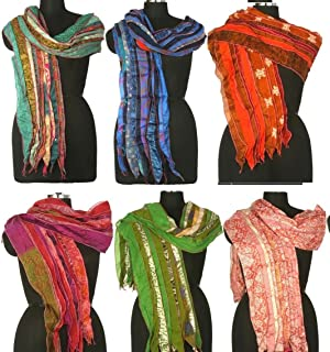 Mango Gifts Lot of 25 Sari Fabric Handmade Multi-color Scarves, Assorted, Wholesale Lot