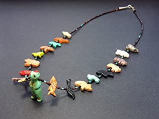 Hand Carved Single Strand Standing Bear with Mixed Animals Multicolored Fetish Necklace