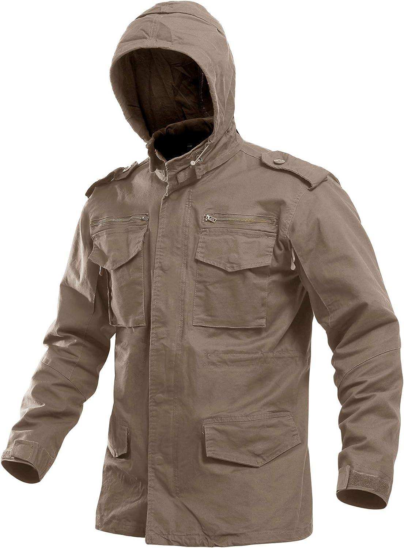 CRYSULLY Men's cheap Fall Max 76% OFF Windbreaker Full Coat Zip Hooded Cargo Field