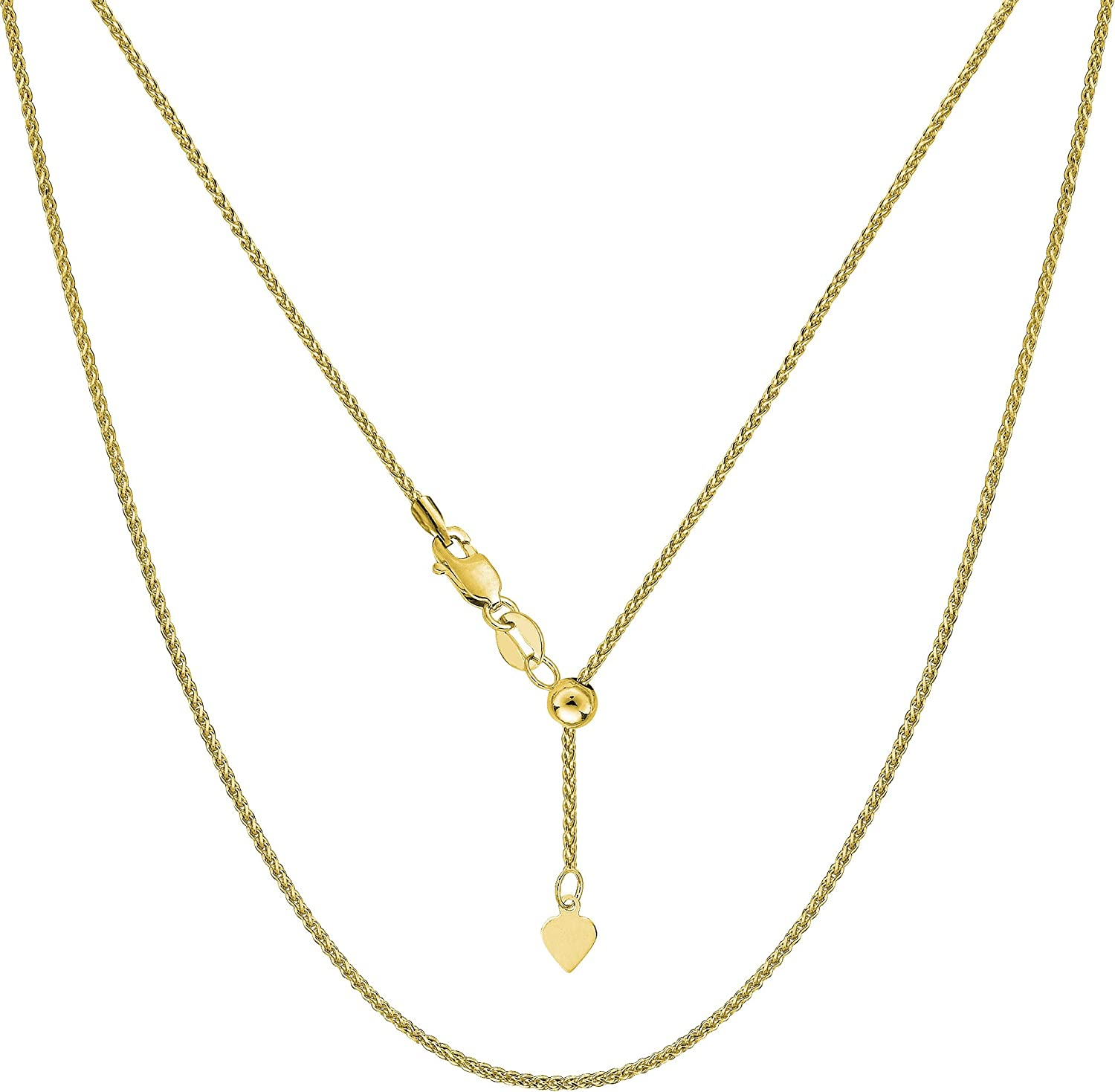 10k Yellow Gold Adjustable We OFFer at cheap prices Wheat Link 1.0mm Chain Necklace Minneapolis Mall 22