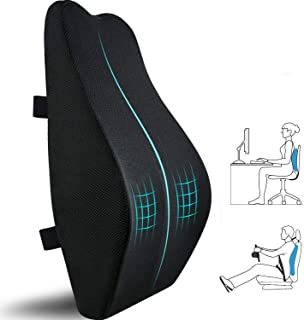(Black) - Lumbr Support Pillow for Office Chair,Memory Foam Back Cushion for Car Seat,Chair,Computer Desk Chairs,Large Erg...