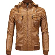Tanming Men's Plus Velvet... Tanming Men's Plus Velvet Motorcycle Pu Faux Leather Jacket with Removable Fur Hood