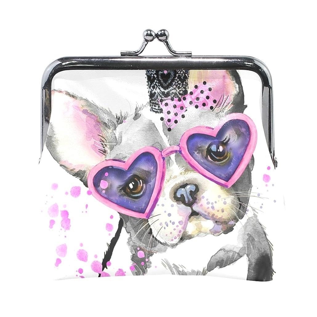 入手します粘液かわいらしいAOMOKI 財布 小銭入れ ガマ口 コインケース レザー 犬 ピンク ドッグ ハート 蝶