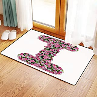 Non-Slip Mat Microfiber Bathroom Rug Shower Mat, Letter I,Initial Letter I with Colorful Blooming Bouquet Daisi, Ultra Soft and Water Absorbent Bath Rug,Machine Wash/Dry 20x 31 inches