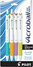 PILOT Acroball PureWhite Advanced Ink Refillable & Retractable Ball Point Pens with Turquoise/Orange/Purple/Lime Accents, Fine Point, Black Ink, 4-Pack (31896)