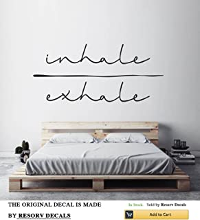 Inhale Exhale Vinyl Wall Decals - Removable Decor Art Stickers for Bedroom Living Room Kitchen - Large Decal Sticker - Home Yoga Studio Decor for Women Men Girls (w:40
