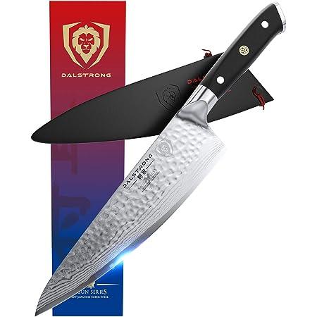 "DALSTRONG Chef Knife - 8"" - Shogun Series X - Damascus - Hammered Finish - Japanese AUS-10V Super Steel - Black G10 Handle - w/Sheath"
