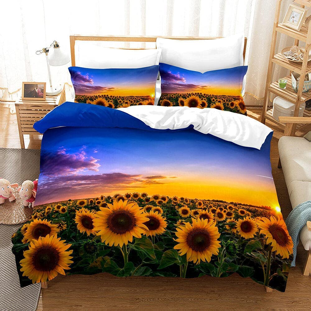 Duvet Cover Full Size Austin Mall Yellow Sunflower Max 54% OFF with Covers Bedding