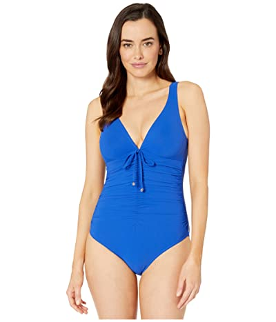 SHAN Classique Deep V Ruched Front One-Piece (Royal) Women