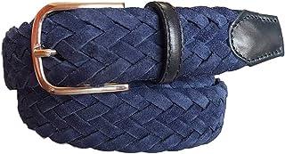 ESPERANTO Cintura uomo donna intrecciata di pelle scamosciata Foderata in Cotone-ALT 3,5 CM colore Blu, misure da 100 cm a...