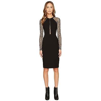 YIGAL AZROUEL Long Sleeve Mechanical Stretch Dress (Jet/Optic) Women