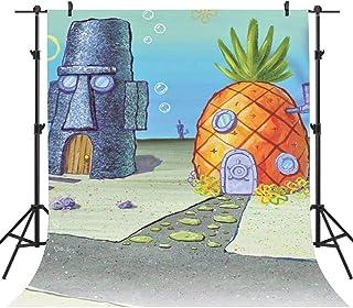 FHZON Cartoon Hintergrund für Geburtstagsparty Dekoration, 1,5 x 2,1 m, Ananas Haus, Fotografie Hintergrund, Themen Party, Tapete, Fotokabinen Requisiten HXFH411