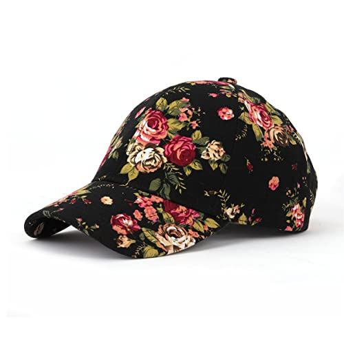 5b86ac147c4fc3 JOOWEN Floral Print Baseball Cap Adjustable 100% Cotton Canvas Dad Hat Hats  for Women
