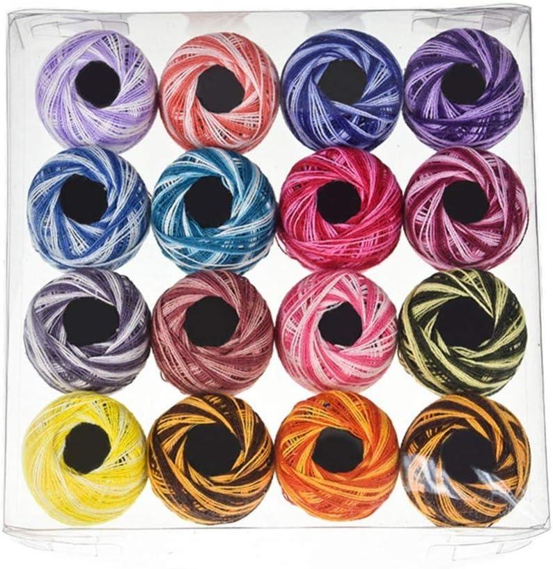 Artibetter Lot de 16 fils de coton 16 couleurs pour travaux manuels et broderie au point de croix Couleur assortie couleur unie