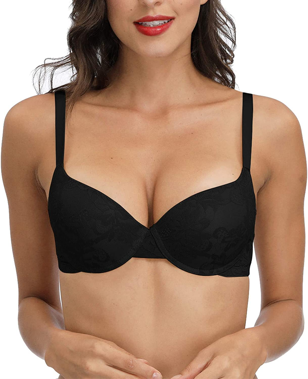 Womens Padded Push Up Lace Bra Underwired Demi Add A Cup Everyday Comfort Plunge Support Brassiere