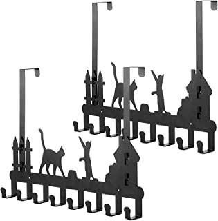 Oak Leaf 2-Pack Over The Door Hook Hanger Organizer Rack with Cute Cat Design and Dual Mounting of Door or Wall, Perfectly for Hanging Coat, Hat, Clothes, 8-Hooks, Black