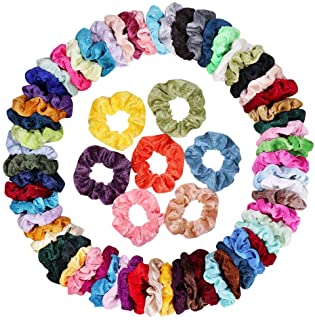 75 Pcs Hair Scrunchies Velvet Elastic Hair Bands Scrunchie Soft Hair Ties Ropes Scrunchy Ponytail Holder Hair Accessories,...