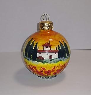 Paesaggio Toscano-Palla di natale di ceramica fata a mano,dimensione diametro cm 6.Made n Italy,Toscana,Lucca.Creata da Da...