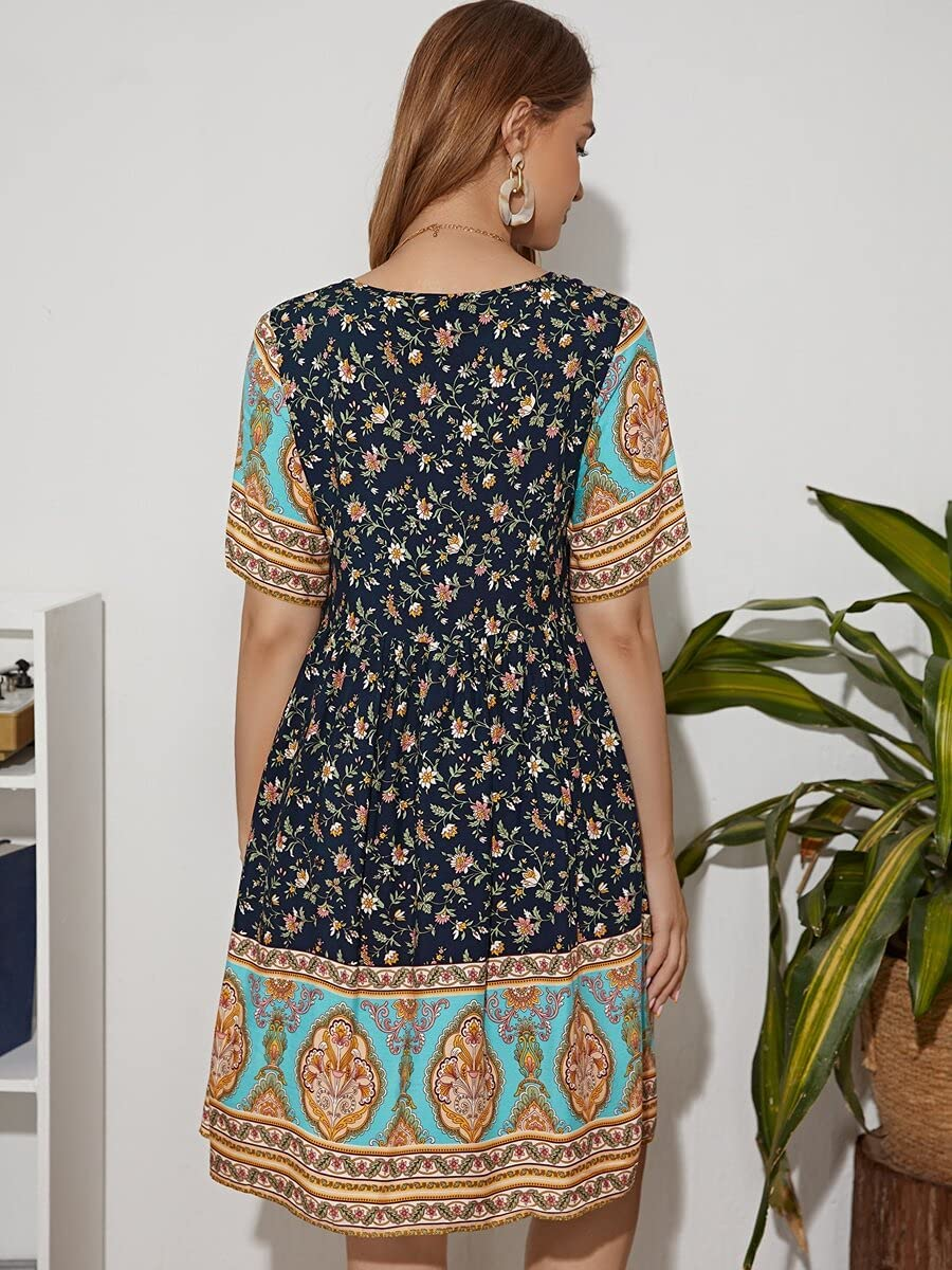 Shreem85 Maternity Dress half V-Neck Print D Floral Scarf New product! New type