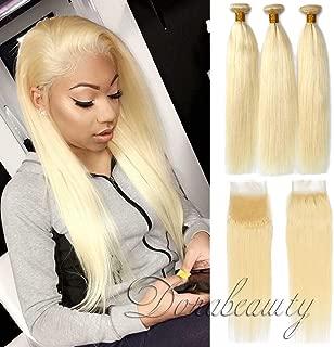 Dorabeauty #613 Platinum Blonde Bundles 4×4 Lace Closure with 3 Bundles 100% Brazilian Remy Human Hair (ST 14