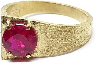 Bellissimo anello con spettacolare rubino rosso naturale rotondo da 7 mm. Anello in argento sterling 925 con bagno da 5 mi...
