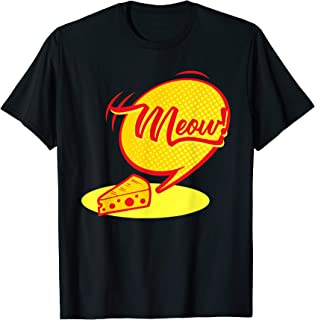 Witty Funny Shirts: Cat Cheese Meow Retro Bubble Silly Shirt