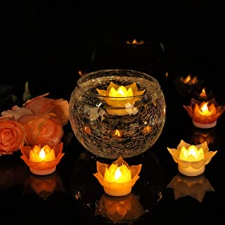 Romingo 7 Colors Lotus LED Candles Floating Candle Batteries Operated Flameless Candle Light Beautiful for Festival Lamp Decoration Home, Garden, Pond