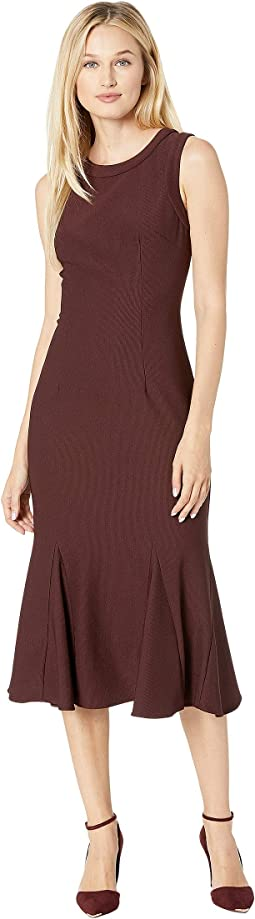 Daphne Ottoman Sleeveless Sheath Dress with Banded Crew Neckline and Armholes