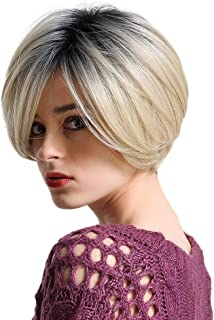 Emmor Short Blonde Human Hair Wigs for Women Mix Healthy Synthetic Fiber- Ombre Blend Bobo Wig Dark Root Side Part,Natural Daily Use Hair