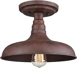 DANXU Lighting Vintage Retro Rustic Metal Barn Semi Flush Mount Ceiling Light Rust Finish