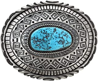 Navajo Kingman Turquoise Silver Buckle Old Pawn Style Sterling 0050