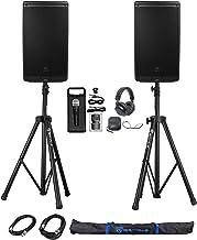 "(2) JBL EON612 12"" 2000 Watt Powered DJ PA Speakers+Stands+Cables+Mic+Headphones"