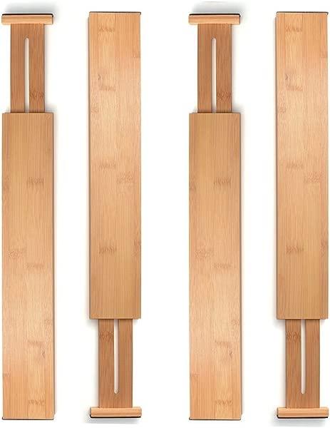 Bamboo Drawer Dividers Kitchen Organizer Spring Adjustable Expendable Best For Kitchen Dresser Bedroom Baby Drawer Bathroom And Desk Set Of 4
