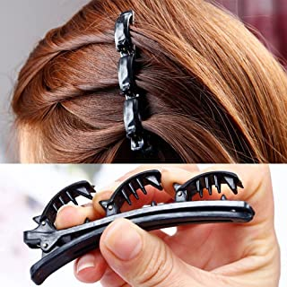 Fashion Double Layer Band Twist Front Hair Claw Clips, Black Magic Band Clips Double Grip Hair Clips Vintage Twist Hair Tool Braiding Hair Accessories for Women, Girls
