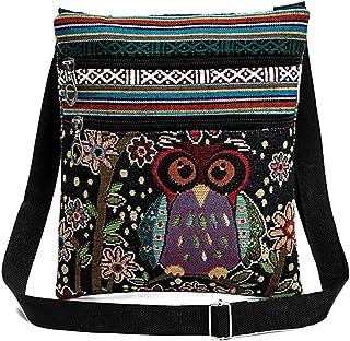 Oyfel Damen Umhängetasche Eule Leinen Messenger Bag Reißverschluss Geldbörse Stickerei Canvas Crossbody Bag Hobo Zipper Ba...